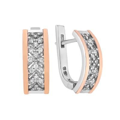 Сережки срібні фантазія з розсипом та золотими вставками (GE-00002)