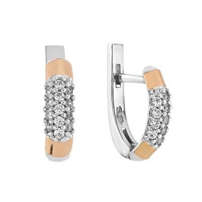 Сережки срібні фантазія з розсипом та золотими вставками (GE-00004)