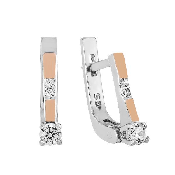 Сережки срібні з фіанітами та золотими вставками (GE-00006)