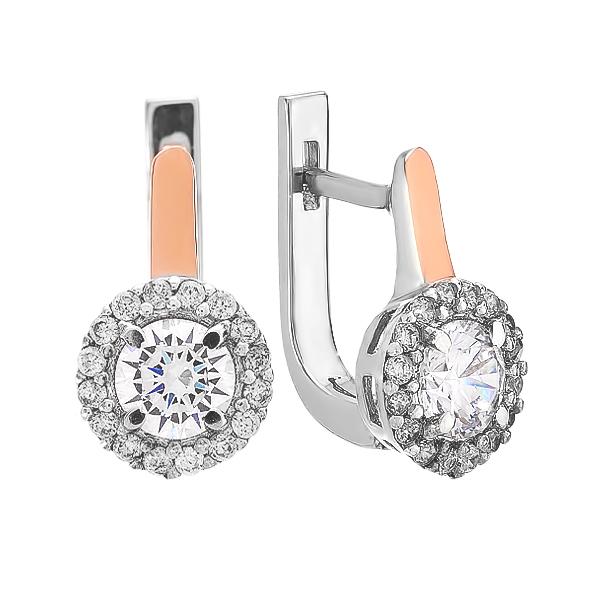 Сережки срібні з фіанітими та золотими вставками (GE-00007)