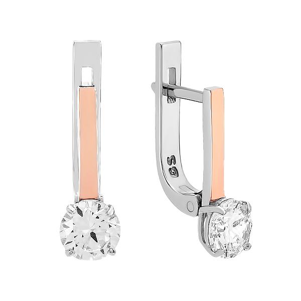 Сережки срібні з фіанітами та золотими вставками (GE-00008)