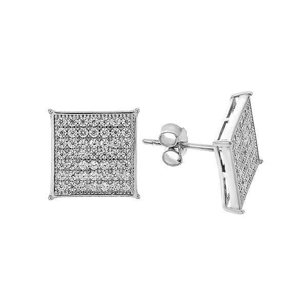Сережки-пусети (гвоздики) срібні з розсипом (GE0138)