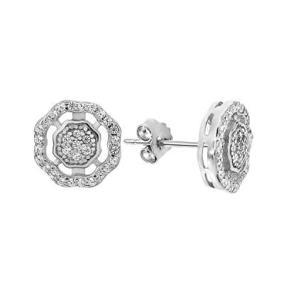 Сережки-пусети срібні з розсипом (GE0364-01)