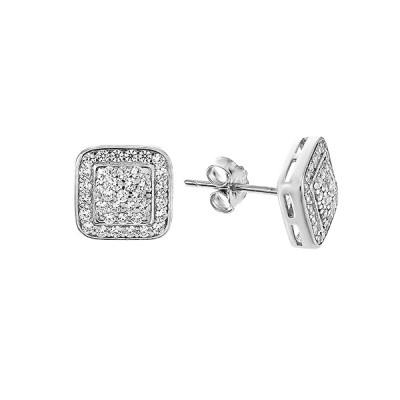Сережки-пусети срібні з розсипом (GE0478-01)