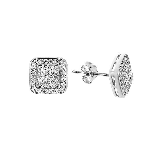 Сережки-пусети (гвоздики) срібні з розсипом (GE0478-01)