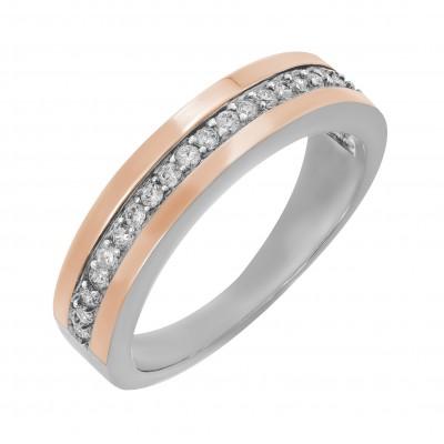 Кольцо серебряное дорожка с фианитами и золотыми вставками (GR-00005)