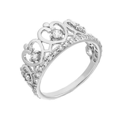 Каблучка срібна Корона з фіанітами (КВ2313)