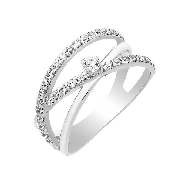 Каблучка срібна фантазія з розсипом (КВ2350)