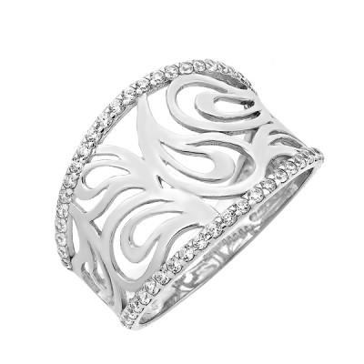 Каблучка срібна фантазія з розсипом (КВ2363)
