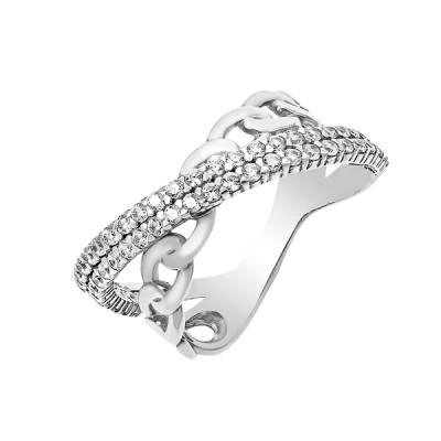 Каблучка срібна фантазія з розсипом (КВ2373)