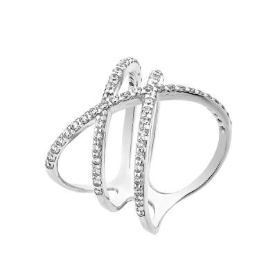 Каблучка срібна фантазія з розсипом (КВ2409)