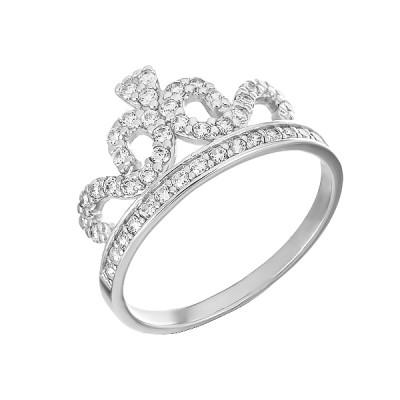 Каблучка срібна Корона з фіанітами (КВ2432)