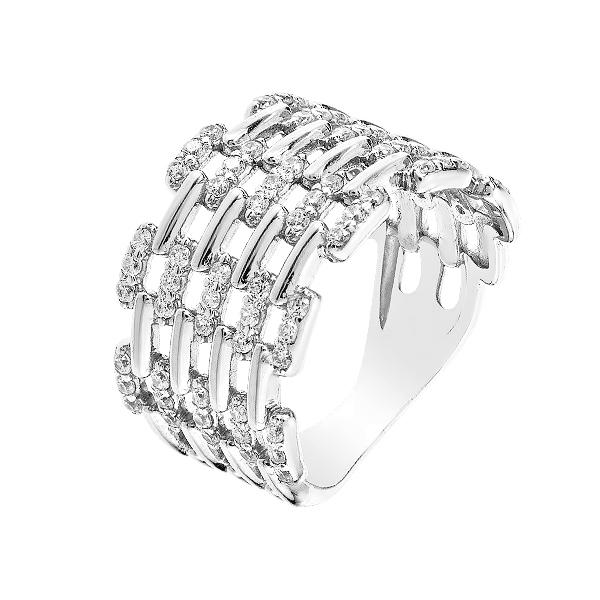 Каблучка срібна фантазія з розсипом (КВ2434)