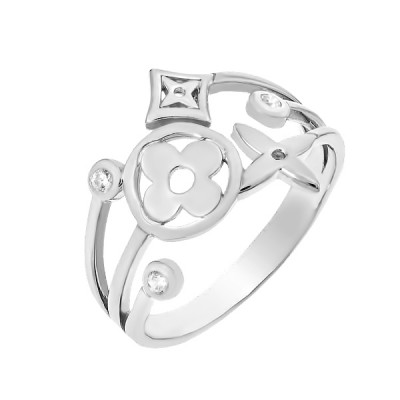 Каблучка срібна фантазія з фіанітами (КВ2472)