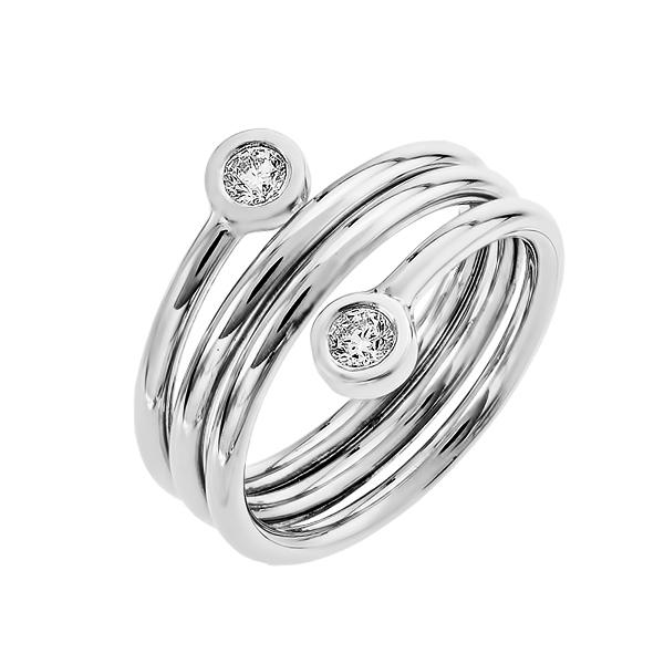 Каблучка срібна фантазія з фіанітами (КВ2482.1)