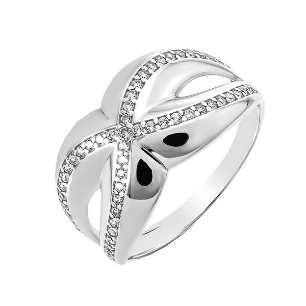 Каблучка срібна фантазія з розсипом (КВ2497)