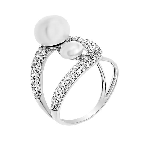 Каблучка срібна фантазія з перлиною та розсипом (КВ2565)