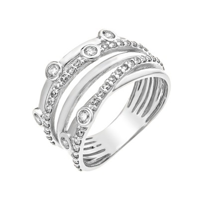 Каблучка срібна фантазія з розсипом (КВ2567)