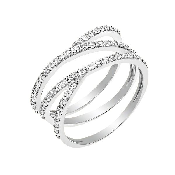 Каблучка срібна фантазія з розсипом (КВ2572)