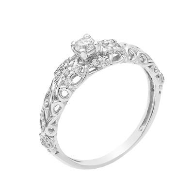 Кольцо серебряное с фианитами (КВ2595)