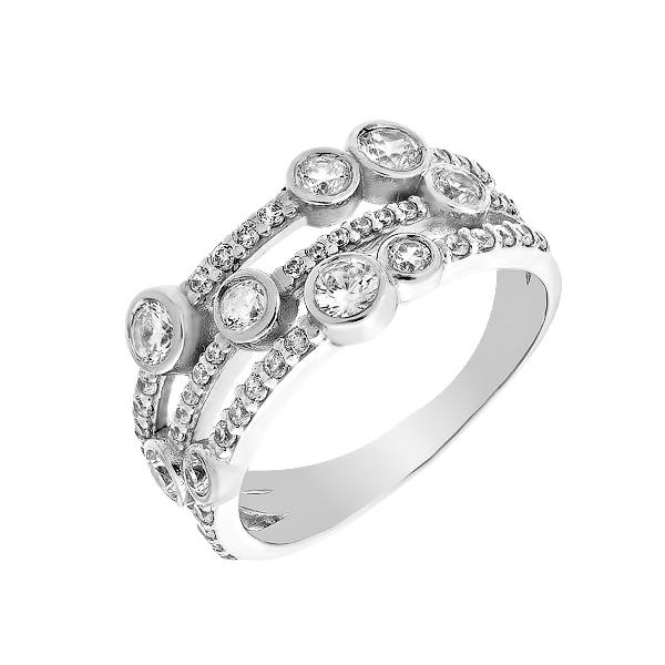 Каблучка срібна фантазія з розсипом (КВ2600)