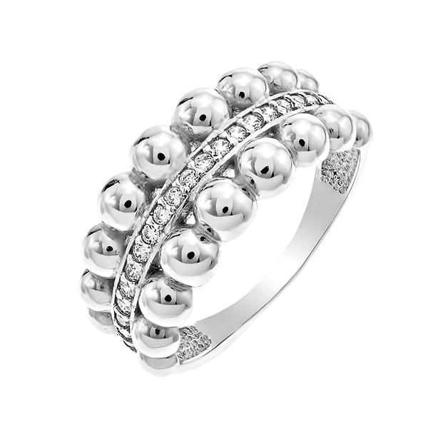 Каблучка срібна фантазія з розсипом (КВ2631)