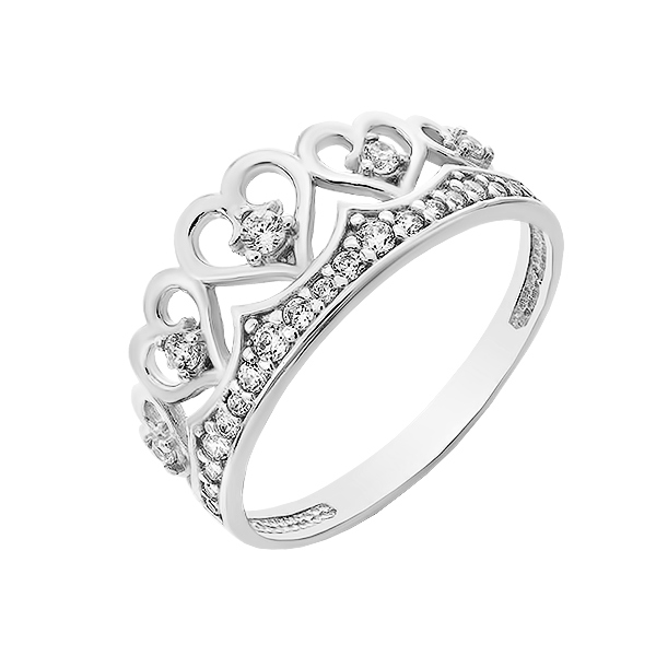 Каблучка срібна Корона з фіанітами (КВ2793)
