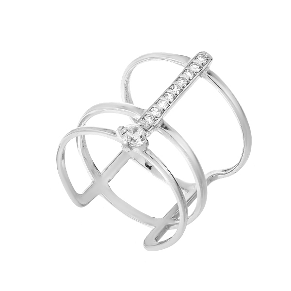 Каблучка срібна фантазія з розсипом (КВ2841)