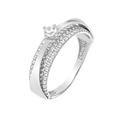 Кольцо серебряное с фианитами (КВ2872)