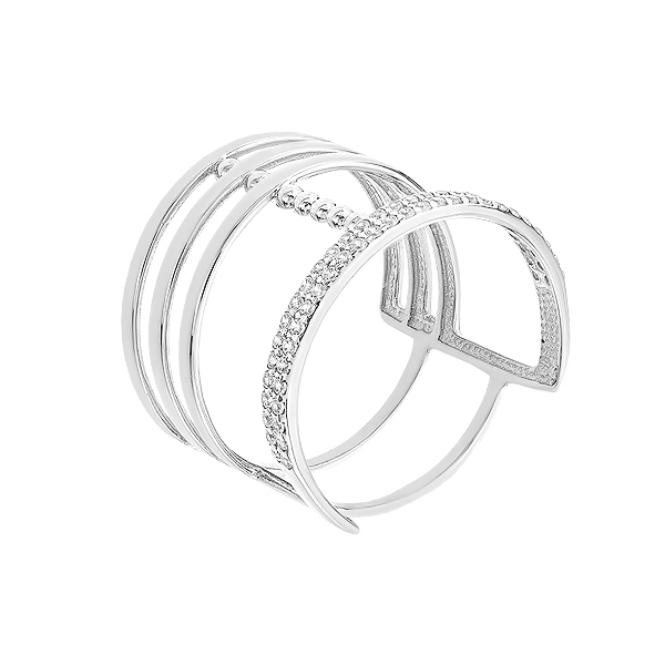 Каблучка срібна фантазія з розсипом (КВ2911)