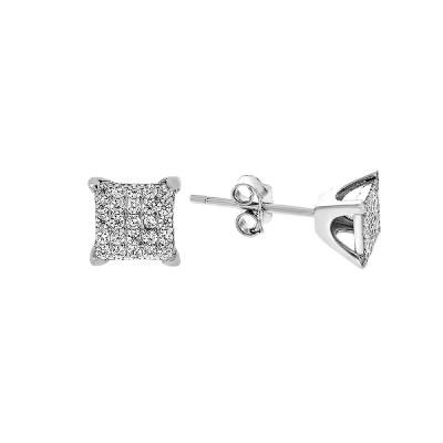 Сережки-пусети срібні з розсипом (ME0187)