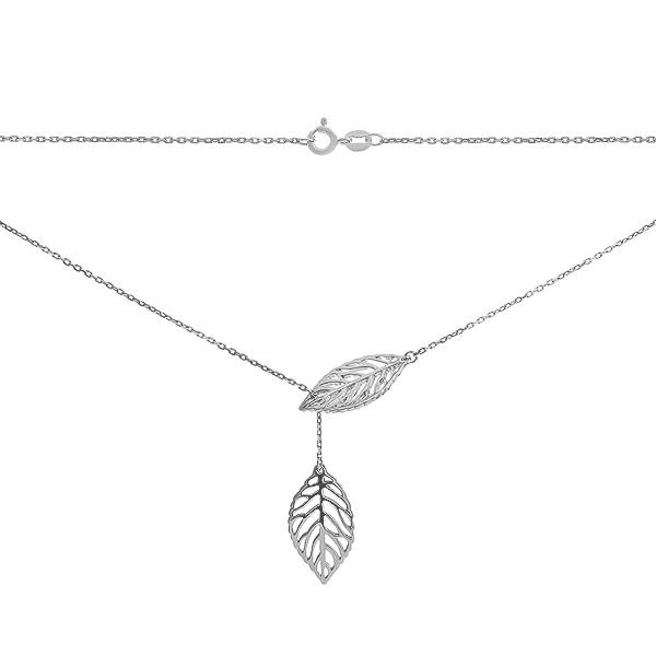 Кольє срібне Листочок без каменів (P00008)