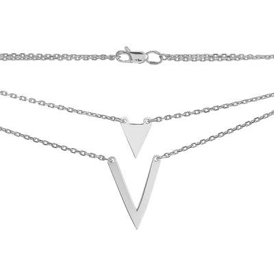 Кольє срібне Геометрія без каменів (P00014)