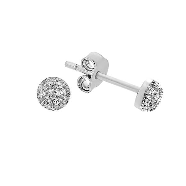 Сережки-пусети срібні з розсипом (PESS0432)