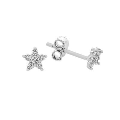 Сережки-пусети срібні Зірка з розсипом (PESS0506)