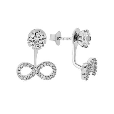 Сережки-пусети срібні Безмежність з розсипом (PESS0608)