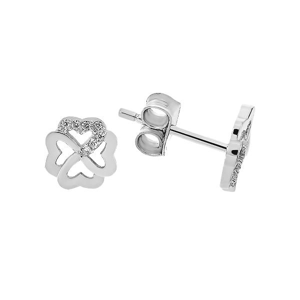 Сережки-пусети (гвоздики) срібні фантазія з фіанітами (PESS0622)