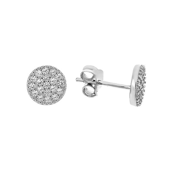 Сережки-пусети (гвоздики) срібні з розсипом (PSS0147ES-8мм)