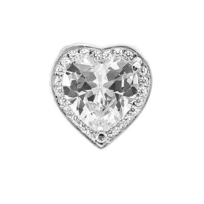 Подвес серебряный Сердце с фианитами (ПВ1166)