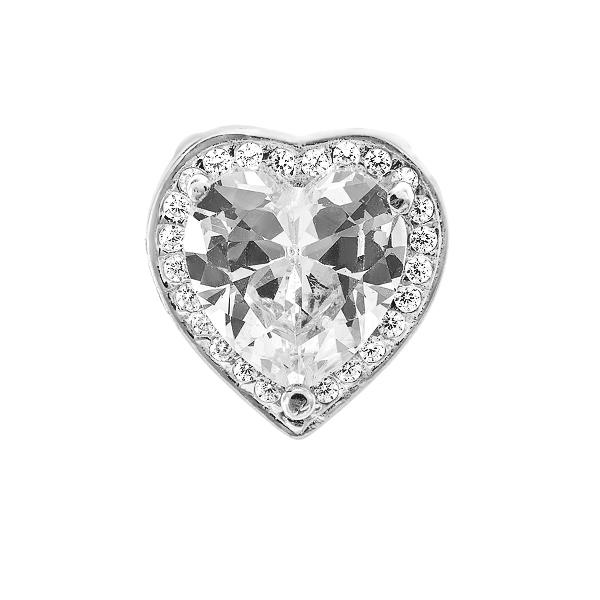 Підвіска срібна Серце з фіанітами (ПВ1166)