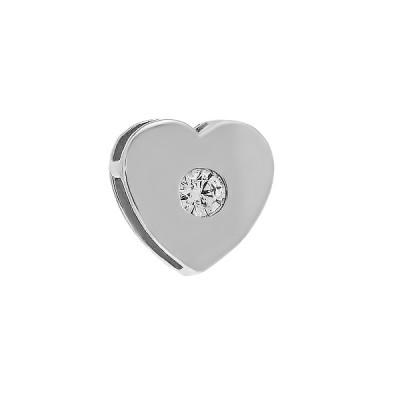 Підвіска срібна Серце з фіанітом (ПВ1244)