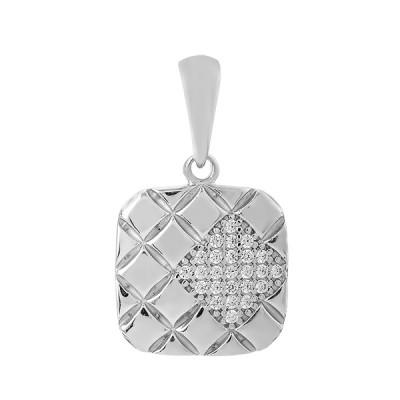 Підвіска срібна геометрія з розсипом (ПВ1256)