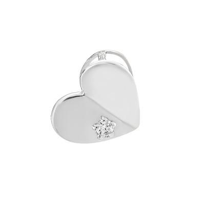 Подвес серебряный Сердце с фианитом (ПВ1262)