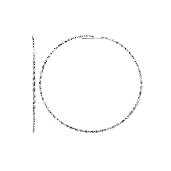 Сережки-кільця (конго) срібні без каменів (СБ124)