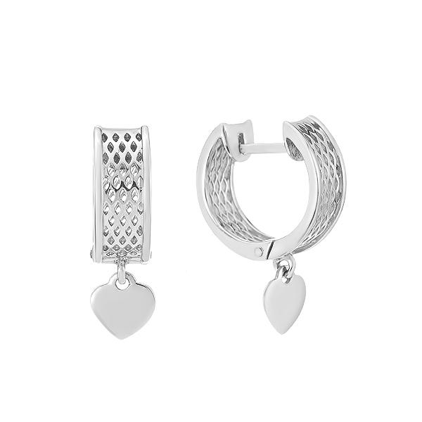 Сережки-кільця (конго) срібні фантазія без каменів (СБ221.4)
