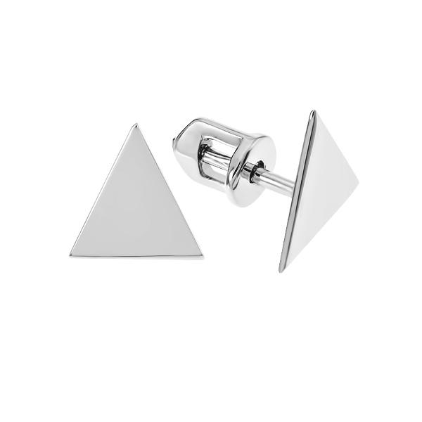 Сережки-пусети (гвоздики) срібні геометрія без каменів (СБ228)