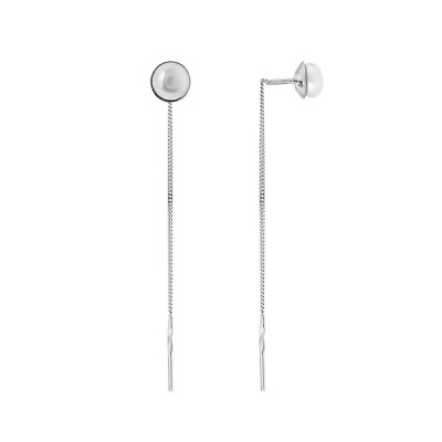Сережки-протяжки срібні з перлами  (СВ060.1)