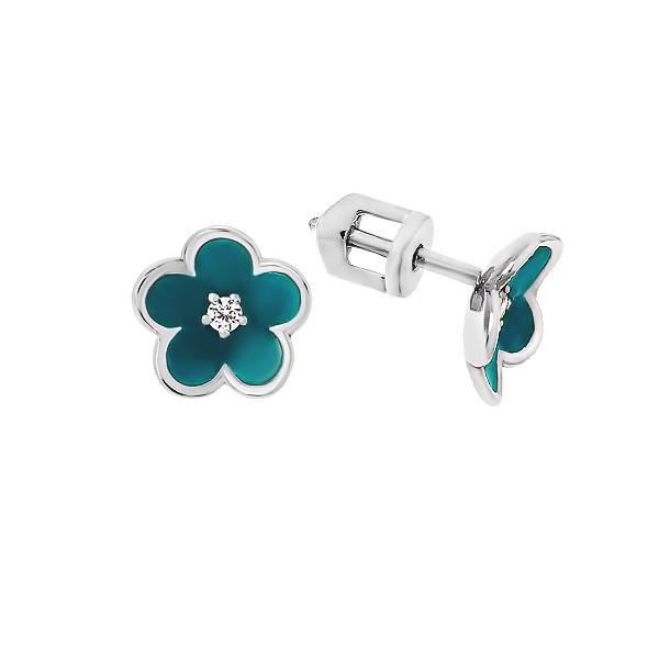 Сережки-пусети (гвоздики) срібні Квітка з фіанітом (СВ1088.31)