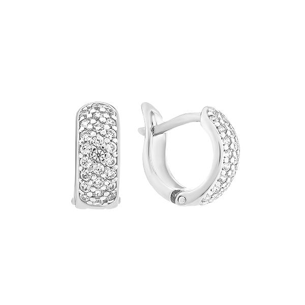 Сережки-кільця (конго) срібні доріжка з фіанітами (СВ1250)