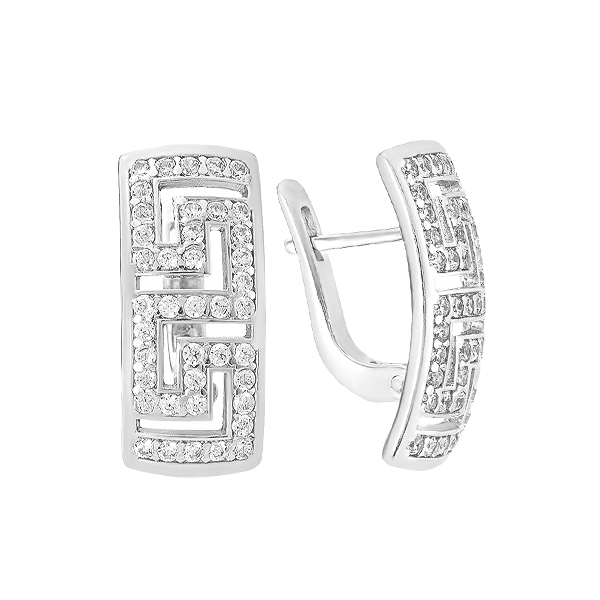 Сережки срібні фантазія з розсипом (СВ1259)